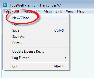 screenshot of TypeWell File menu with a red circle around the New/Close option